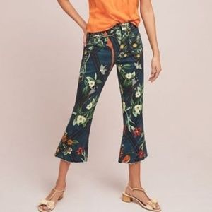 PatBO Floral Cropped Flare Jeans new